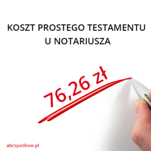koszt prostego testamentu - infografika